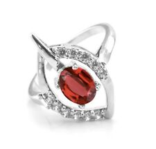 925 Sterling Silver Ring with Red Garnet Natural Gemstone Oval Cut Handmade
