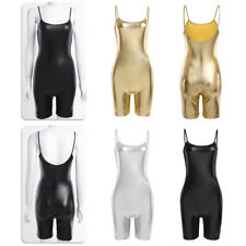 Womens Wetlook Stretchy Bodysuit One Piece Spaghetti Strap Jumpsuit Romper Club