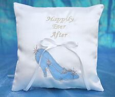 Happily Ever After Princess Cinderella Slipper Pink Blue Ring Bearer Pillow