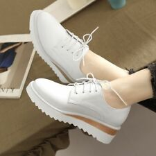 Fashion Womens Wedge Heel Shoes Lace Up Platform Sneakers Oxfords Casual Shoes
