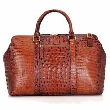 Alligator Grain GENUINE LEATHER Designer Handbag Duffle Travel Bag
