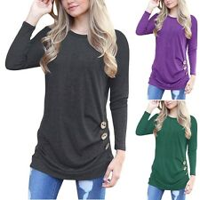 Women Casual Long Sleeve Top Blouse Loose Round Collar T-shirt Buttons Decorated