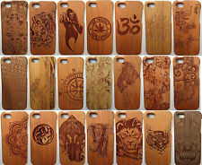 LUXURY CARVED HARD WOODEN PROTECTOR CASE SOLID WOOD FOR APPLE IPHONE SE 5 5S
