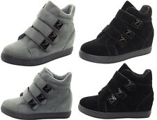 New Womens Wedge Trainer Fashionable Hi Top Pumps Mid Heel Sneaker Ankle Boots
