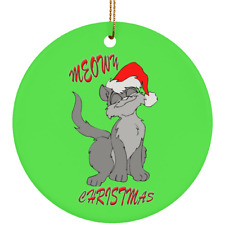 Meowy Cat Christmas Tree Ornament Green Round Oval Crafted Ceramic White Red