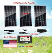 300 Watt Mono Solar Panel Kit with PWM 30A LED Controller 12/24V For RV Camping
