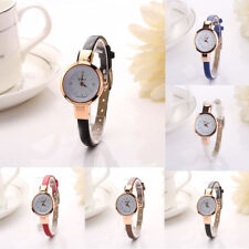 Women's Watches Leatheroid Band Round Dial Gold Case Quartz Wrist Watch Hot New