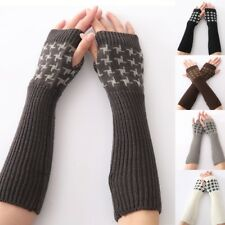 Women Winter Assorted Color Arm Warm Stretch Knitting Long Fingerless Gloves
