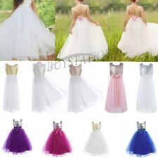 Flower Girls Tutu Dress Kid Sequins Princess Party Wedding Bridesmaid Tulle Gown