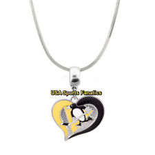 NHL Pittsburgh Penguins Heart Swirl Logo Pendant Necklace On A 925 Snake Chain