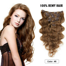 "20"" Remy Clip In Human Hair Extensions 7PCS 70g Body Wave Real Human Hair Weft"