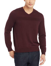 KENNETH COLE Reaction Textured V-Neck Sweater Merlot Burgundy Wine $65