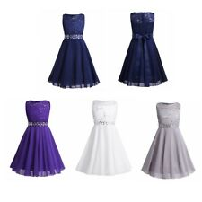 Girls Sequined Chiffon Dress Princess Pageant Wedding Birthday Party Ball Gown