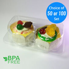 50/100 Take Out Muffin Egg Tart Cupcake Container Pod Box Clear Plastic Cake