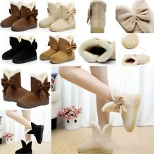 Womens Ankle Snow Boots Flats Winter Low Cuban Heels Comfy Casual Shoes Size