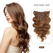 "FEBAY 14"" 7PCS Peruvian Clip in Remy Real Human Hair Extensions Body #10 70g"