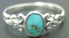 "100% REAL 925 sterling silver ""Very Thin band "" Turquoise  rings TEEN GIRL WOMEN"