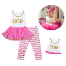Infant Baby Girls One Year Outfit Mesh Top Dress+Striped Pants Clothes Set 9-18M