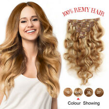 Remy Real 7PCS Body Wave Clip In Human Hair Extensions Full Head 70g #12-613