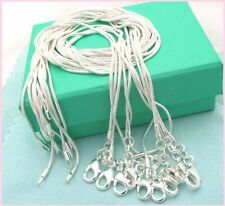 Free shipping wholesale 5PCS sterling solid silver 1MM snake chain HQ