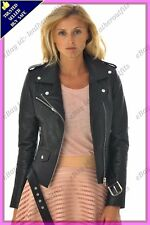Womens Genuine Lambskin Motorcycle Real Leather Jacket Slim fit Biker Jacket #80