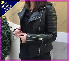 Womens Genuine Lambskin Motorcycle Real Leather Jacket Slim fit Biker Jacket #68