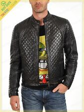 Real Leather Jacket Men Genuine Lambskin Quilted Biker Slim fit Winter GH03