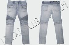 BALMAIN 1565$ Authentic New Skinny Light Blue Distressed Biker Jeans