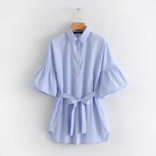 New Womens Casual Blue Striped Flare Sleeve Tie Belt Long Shirt Tops Blouse