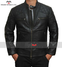 Mens Black David Beckham Real Leather Jacket Biker Vintage Slim Fit +New Genuine