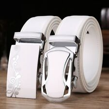 Mens Genuine Leather Belt White Automatic Metal Buckle Casual Outdoor Business