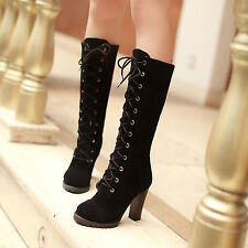 HOT Womens Mid Calf Lace Up Boots Block High Heels Military Combat Stylish Boots