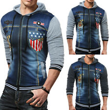 Men's Coat Jacket Outwear Sweater Winter Slim Hoodie Warm Hooded Sweatshirt Mens