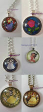 DISNEY PRINCESS NECKLACE CINDERELLA BELLE TIANA AURORA SNOW BEAST enchanted rose