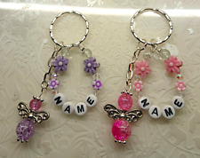 Personalised Any name glass angel personalised key ring~handmade glass angels