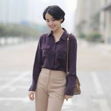3 colors New 100% silk women long sleeve shirts ladies two pockets basic blouses