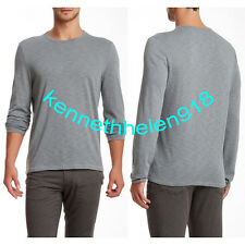 JOHN VARVATOS STAR USA MENS CREW NECK LONG SLEEVE TEE BLUE STONE SIZE LARGE