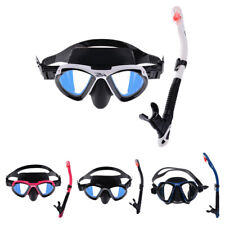 Adult Scuba Silicone Large Frame Goggles Mask & Dry Snorkel Set Swimming Diving