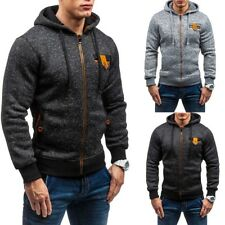 New Plain Mens Hoodie Long Sleeve Zip Up Hoody Jacket Sweatshirt Hooded Zipper