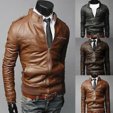 Hot Men Cool Fashion Short Jackets Slim Motorcycle Leather Collar Coat Outerwear