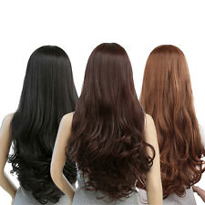Women Curly Long Straight Wavy Full Wig Black Brown Hair Party Wig Cosplay