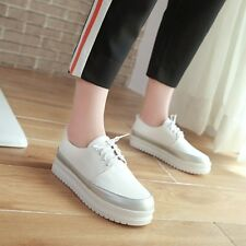 Fashion Women Casual Lace Up Creepers Platform Sneakers Low Wedge Heels Shoes