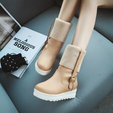 Stylish Womens Platform Wedge Heels Knittign Ankle Boots Preppy Shoes Pumps