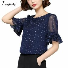 XXXXXL Women Blouses 2017 Summer Short Sleeve Chiffon Blouse Shirt Polka Dot Wom