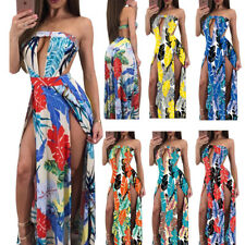 Women's Cut Out Floral Print Sexy Strapless Backless High Slit Maxi Dress W