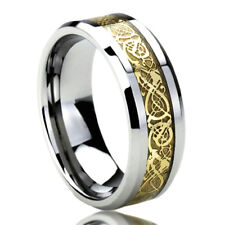 8MM Stainless Steel Wedding Band Ring Yellow Tone Inlay Celtic Dragon Ring