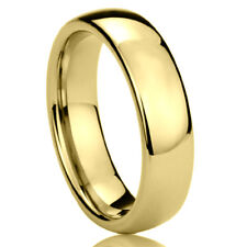 6MM Stainless Steel Wedding Band Ring Gold Tone High Polished Classy Domed Ring
