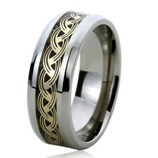 8MM Titanium Mens Womens Rings Gold Tone Chain Comfort Fit Inlayed Wedding Bands