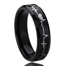 6MM Titanium Mens Womens Rings Forever Love Heartbeat Black Wedding Bands