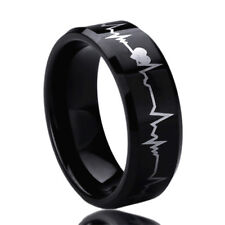 8MM Titanium Mens Womens Rings Forever Love Heartbeat Black Wedding Bands